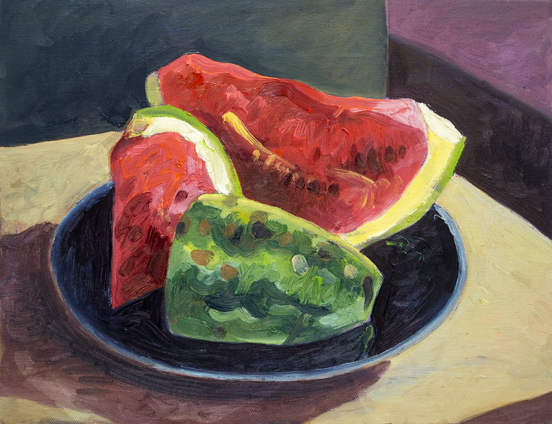 "Blake Carroll. ""Watermelon."" 2012. Oil on Canvas, 13""x16"". $400."