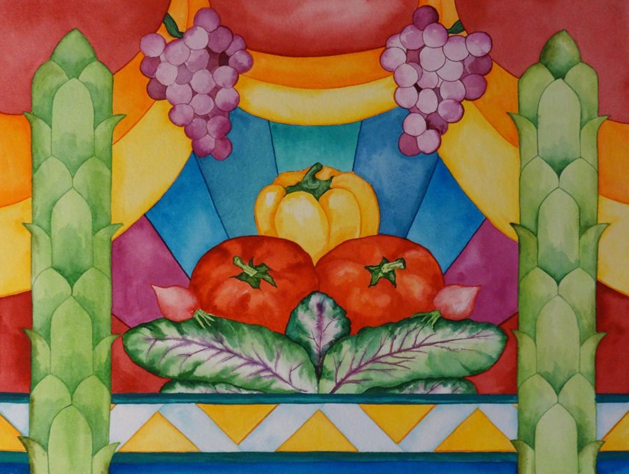 "Kathy Czopek. ""Garden Grandeur."" 2014. Watercolor on Cotton Rag Paper, 16""x20"". $240."