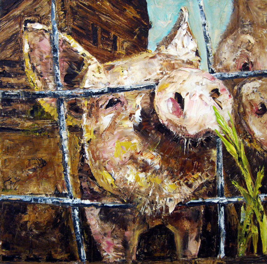 "Michelle J. Streiff. ""Pancetta    ."" 2014. Oil on Canvas, 13x13"". SOLD. This artwork was selected by the exhibit Jurors to receive an Award of Excellence."