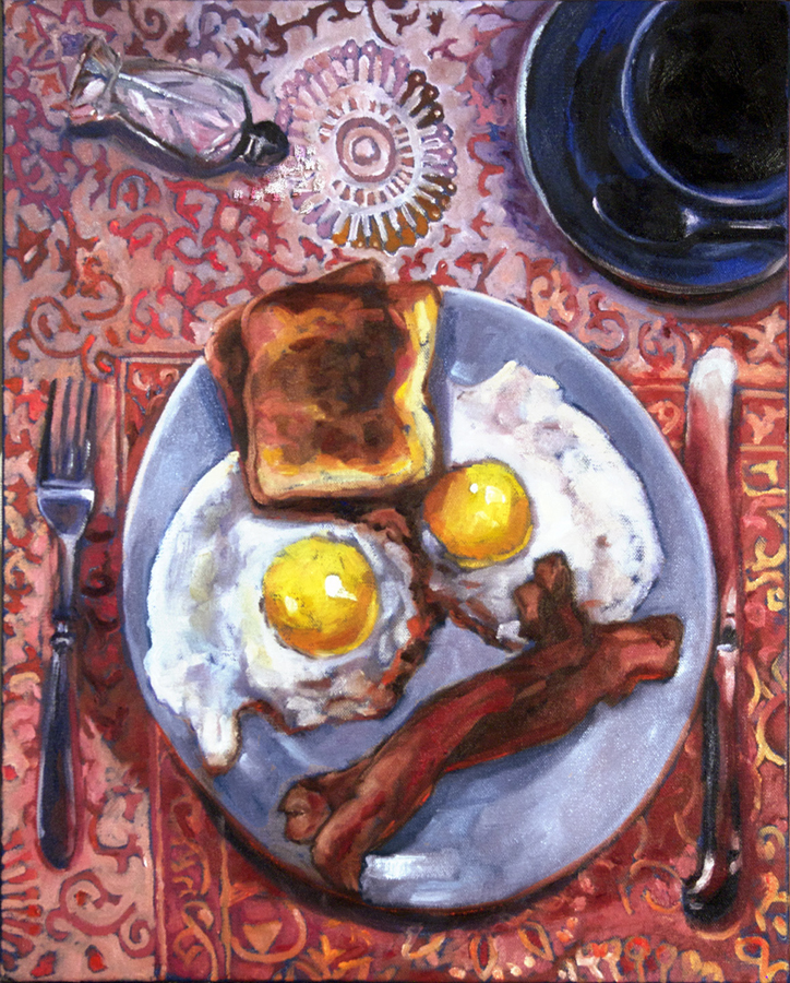 "Marjorie Williamson. ""American Breakfast with Spilt Salt."" 2014. Oil on Canvas, 20""x16"". $400."