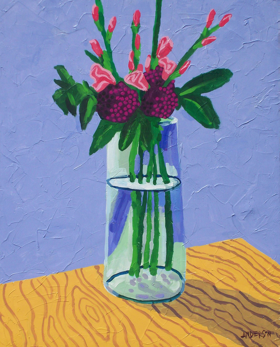 "Michael Anderson, Belleville, IL. Flowers on a Desk. 2012. Acrylic on Canvas, 30""x24"". $900."