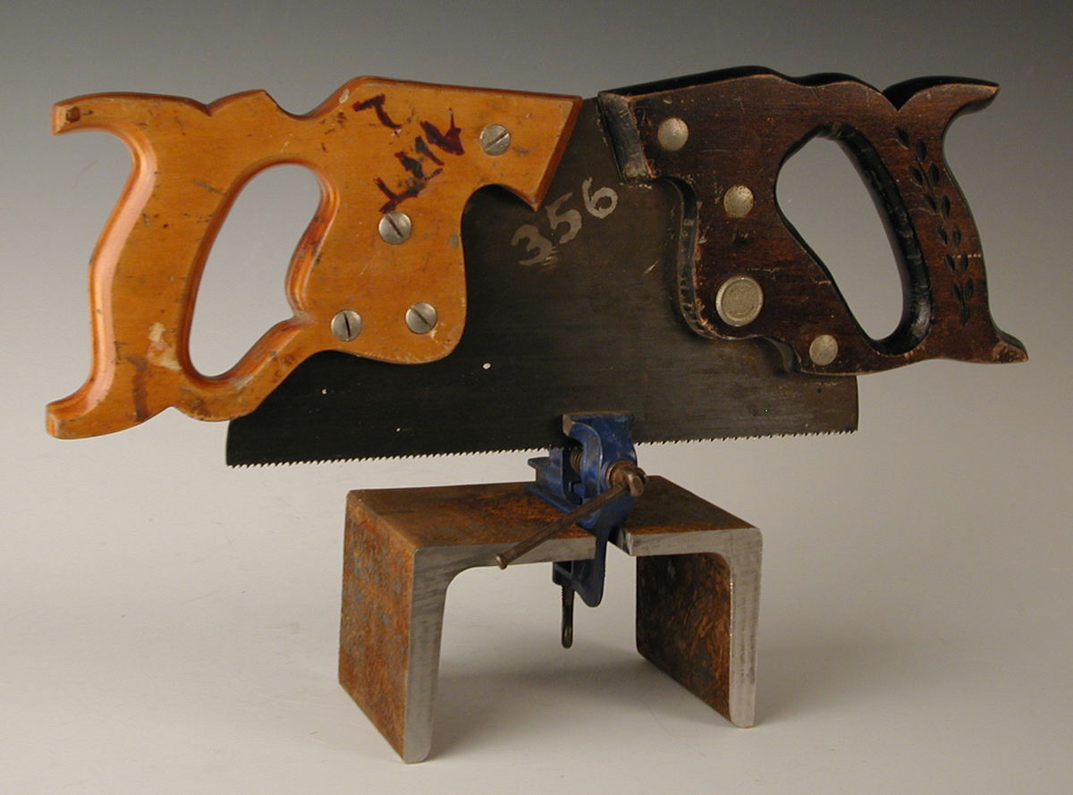 "Jeff Boshart, Charleston, IL. ""Two Hand Man Saw."" 2013. Repurposed Materials, 12""x18""x4"". $300."