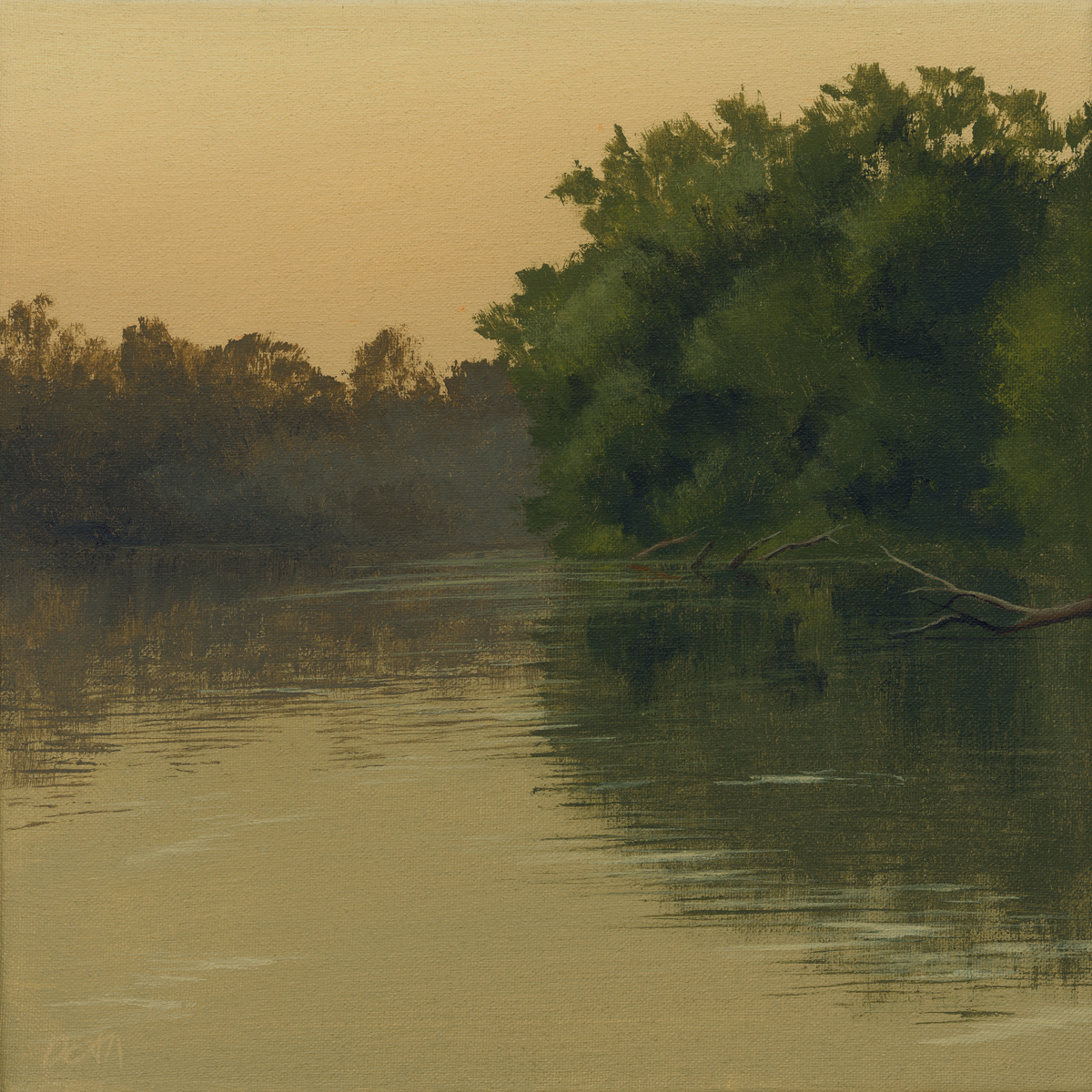 "John Dean, O'Fallon, MO. ""River Crossing."" 2013. Acrylic on Canvas, 12""x12"". $485."