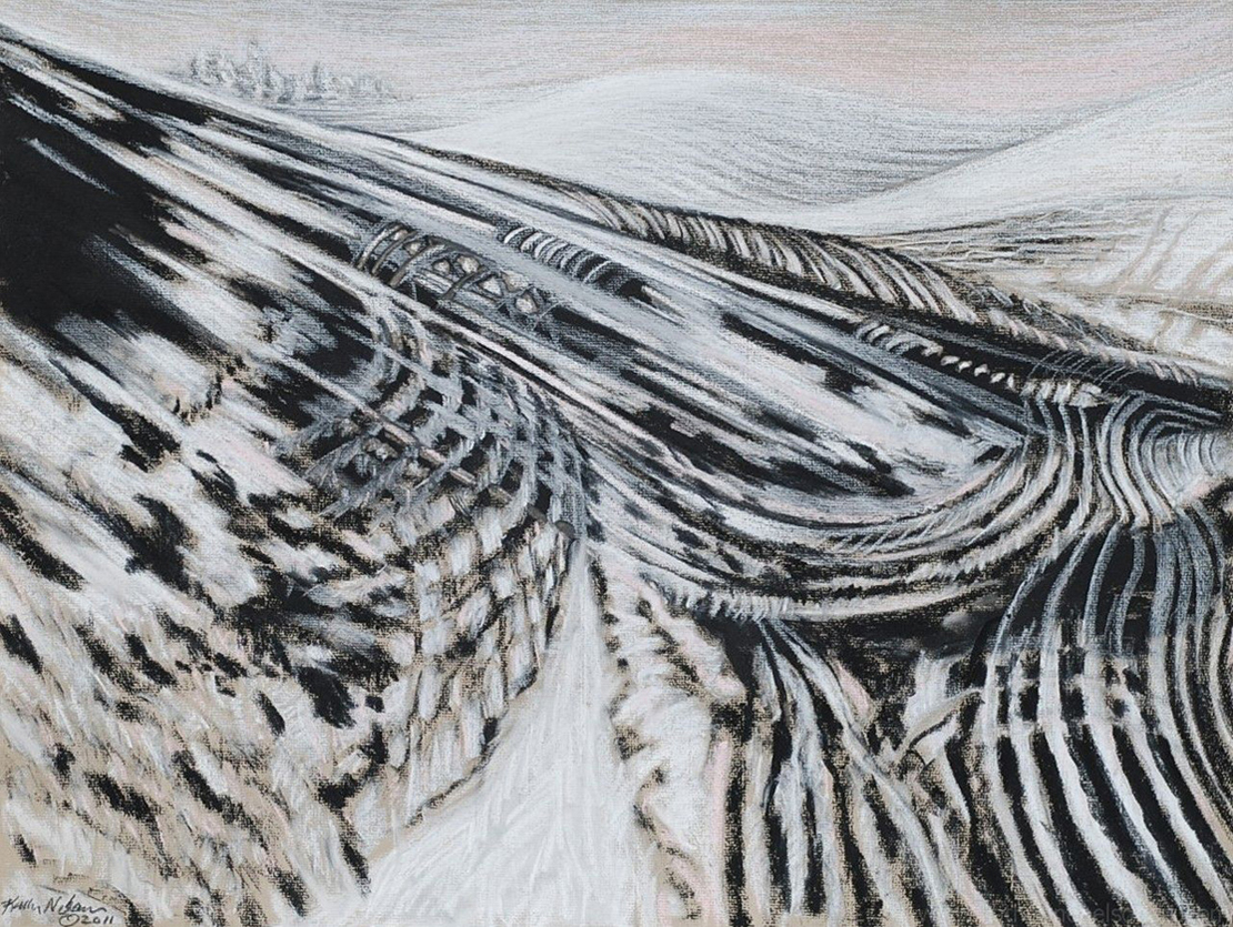 "Katherine Nelson, Chesterfield, MO . ""Snow Shift."" 2011. Charcoal, Pastel on Paper, 26""x33"". Not for Sale."