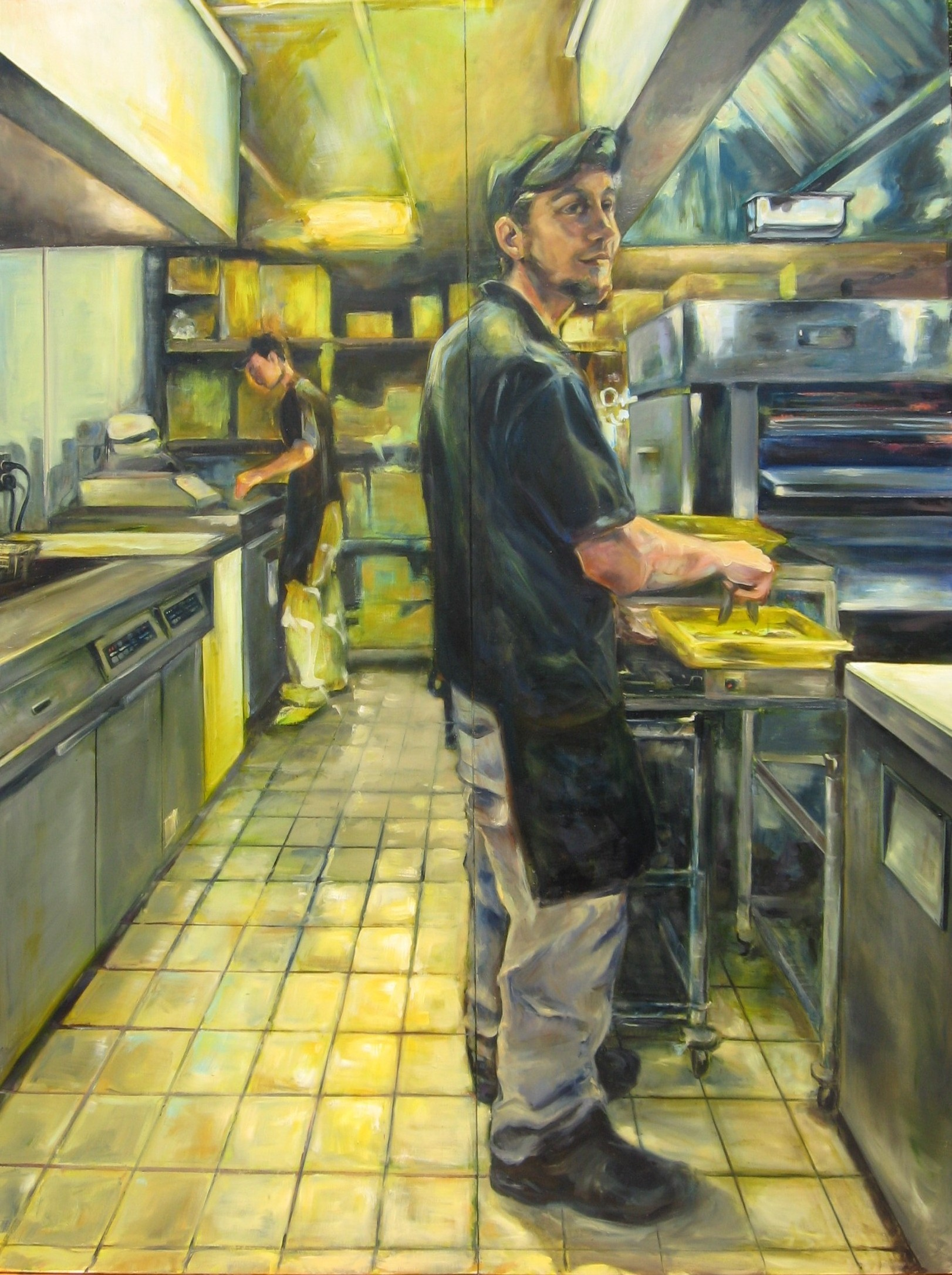 "Terri Berg. ""Minimum Wage."" 2013. Oil on Panel, 80""x60"". $975.76.  The Juror selected this artwork for an Honorable Mention."