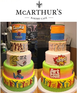 "The fabulous cake created for Art Saint Louis in honor of ""Art St. Louis XXX, The Exhibition"" decorated by Angela Dinkelman for McArthur's Bakery. Photos by Robin Hirsch-Steinhoff and Kathy Duffin."