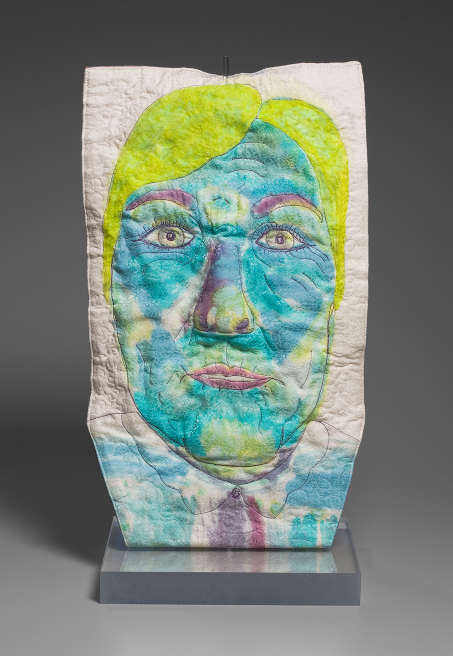 "Katherine Ehlmann, Weldon Spring, MO. ""I May Be Old But I'm Not Dull."" 2014. Silk, Fiber Reactive Dyes, Quilting, Fiber Backed Foil. 25""x12"". $700."