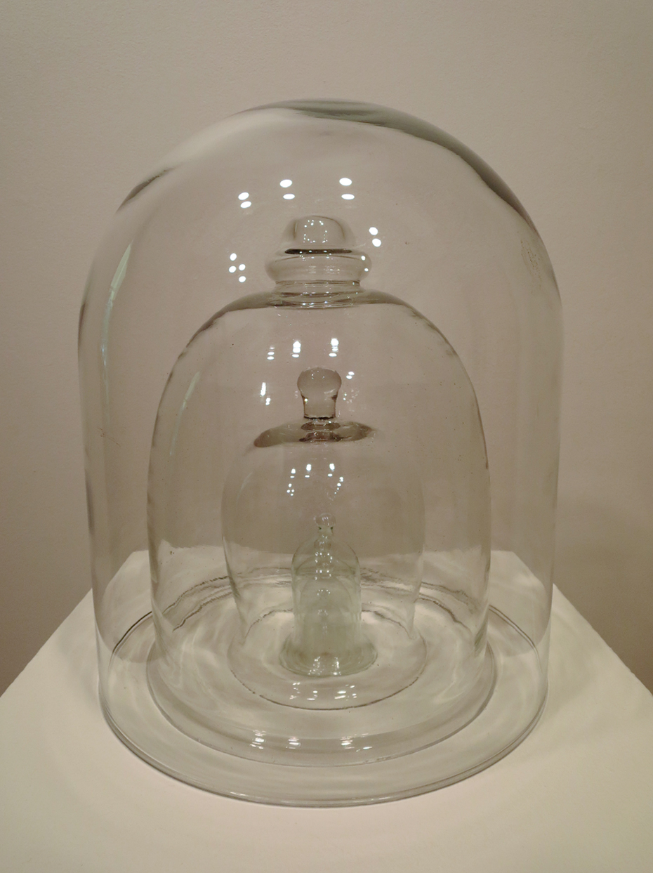 "Khara Koffel, Jacksonville, IL. ""for what was or never was at all."" 2015. Glass Cloches, Sand from Artist's Childhood Home, 16""x12""x12"". $1,000. This artwork was selected by Juror Porter Arneill for an Award of Excellence."