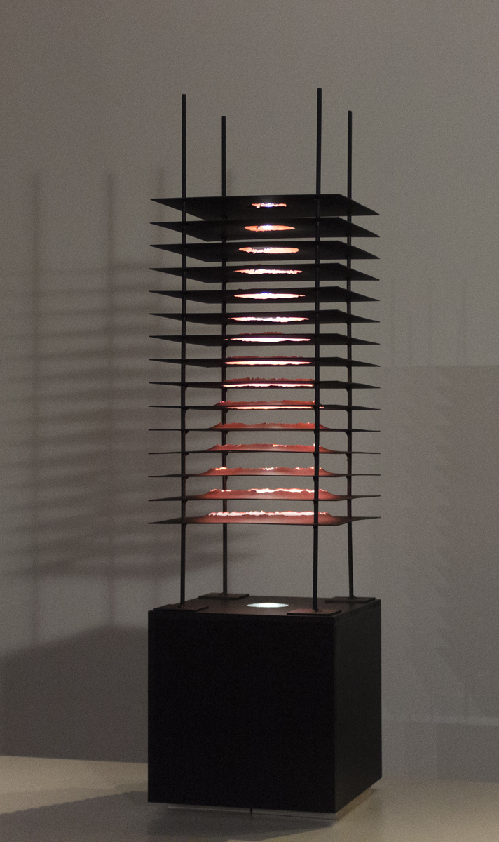 "Jim Burwinkel, St. Louis, MO. ""Exit."" 2017. Steel, Light, 41""x11""x11"". $1,200."