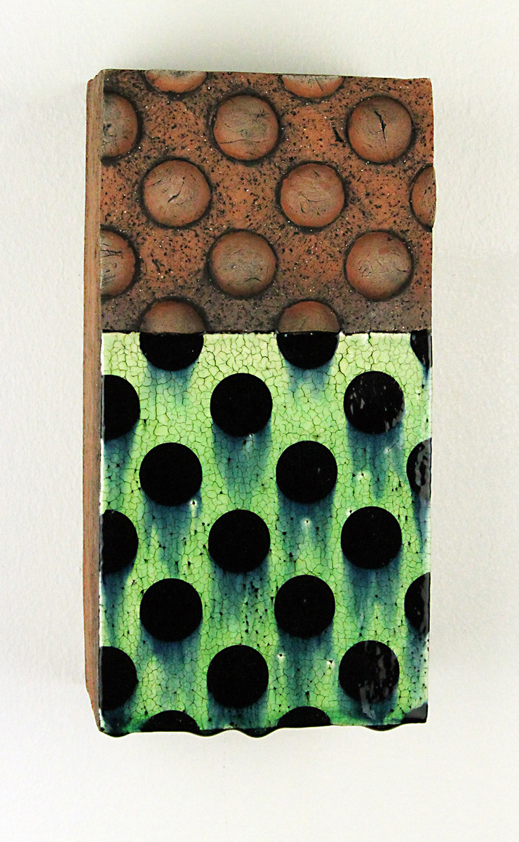 "Michael Gesiakowski, University City, MO. ""Untitled."" 2017. Clay, Slip, Underglaze, Glaze, 9""x4.5""x3.5"". $250. This artwork was selected by Juror Daniel Anderson for an Award of Excellence."