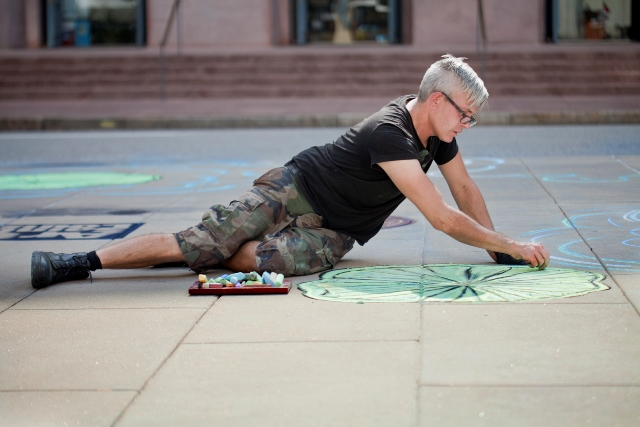 Russell Conklin covered a lot of turn with his aquatic-inspired chalk art