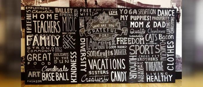 Chalkboard created live at Lululemon Athletica in Plaza Frontenac, St. Louis. Art by Chalk Riot.