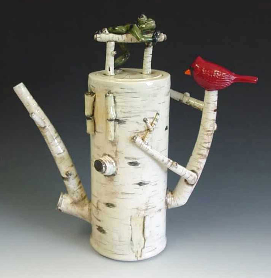 "Jimmy Liu, Ballwin, MO. ""Birch Teapot."" 2012. Porcelain, 11""x6""x5"". This artwork was purchased during the opening reception for ""[context]Texture"" at Art Saint Louis."
