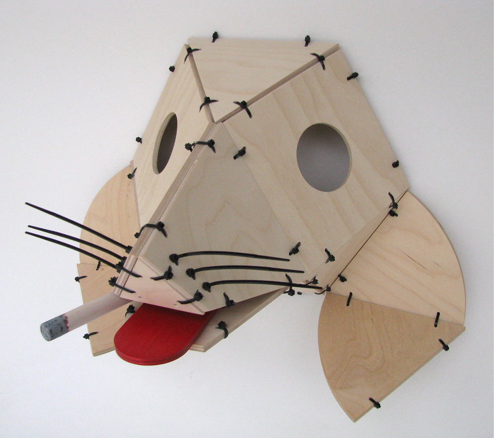 "Andy Van Der Tuin, Olivette, MO. ""JoJo the Dogfaced Boy."" 2014. Birch Plywood, Zip Ties, 13""x17""x10"". $250. This artwork was selected by the Jurors to receive an Award of Excellence."