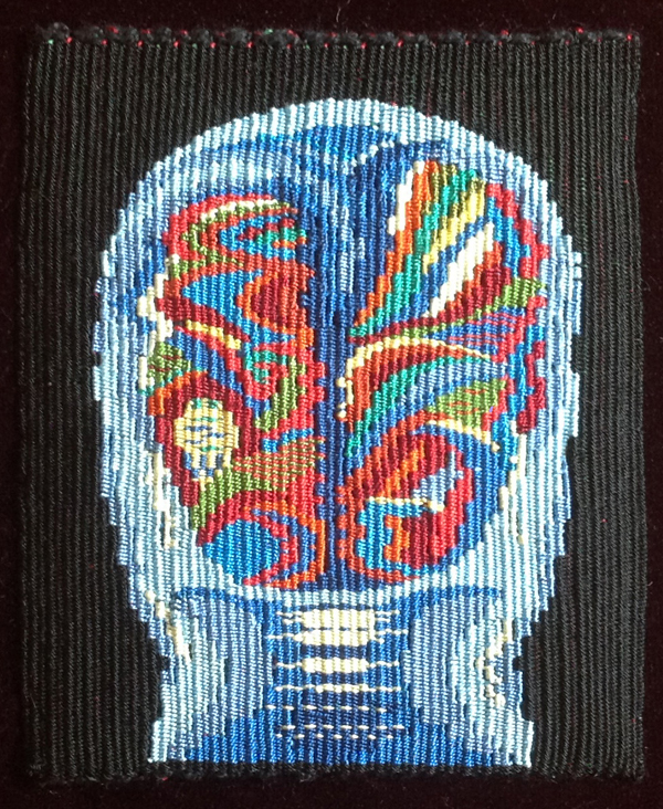 "Marilyn Emerson Holtzer, University City, MO. ""Chemo Brain II."" 2013. Handwoven Tapestry using Silk Wefts on Linen Warps. 8.5""x8.5"". Not for Sale. This artwork was selected by Juror Marci Rae McDade for an Award of Excellence."