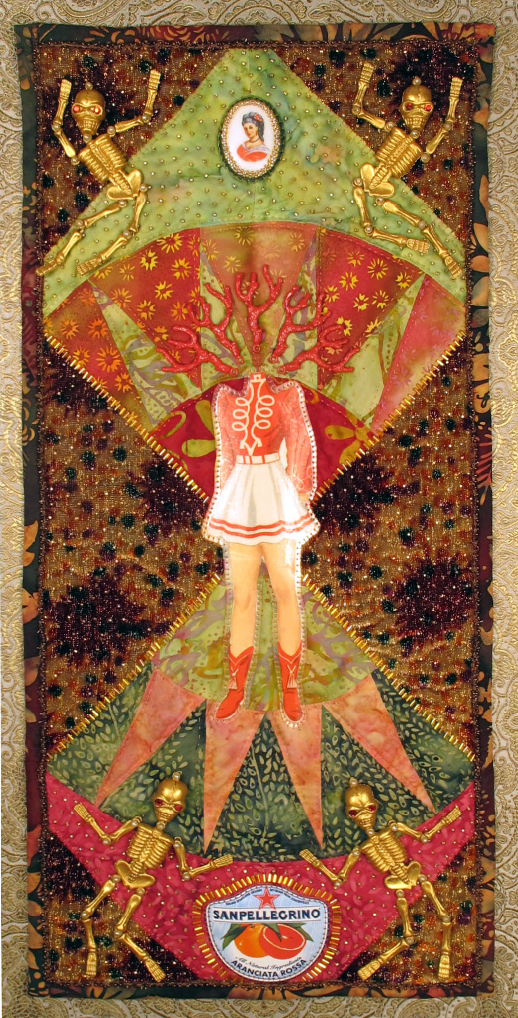 "Jennifer Reis, Morehead, KY."" Warrior (Blood Orange)."" 2014. Embellished Textile Assemblage, 30""x18"". $1,200."