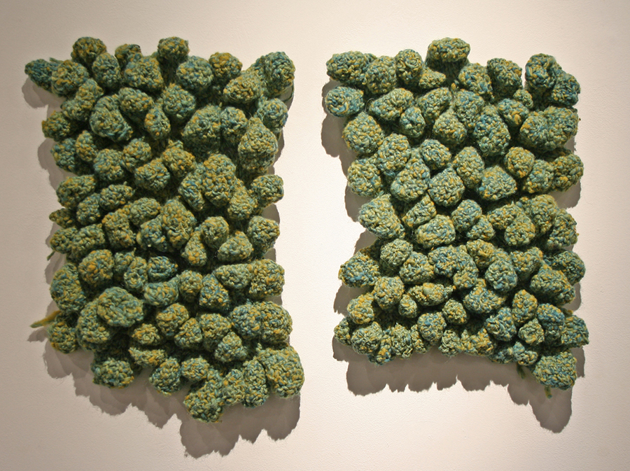 "Amy Schmierbach, Hays, KS. ""Goosebumps."" 2012. Wool, Crochet, 18""x30""x3"". $250."