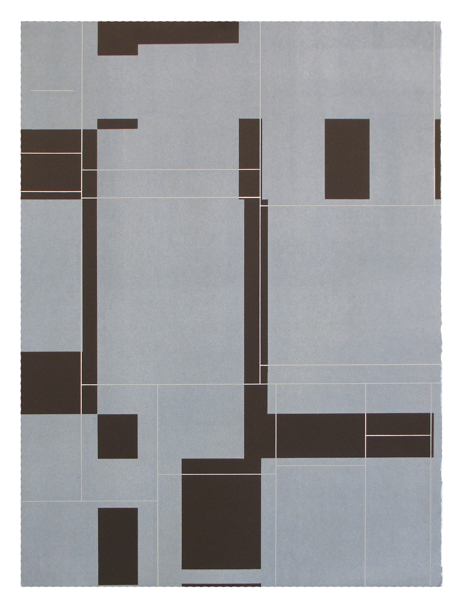 "Ken Wood, St. Louis, MO. ""Strata Series #51, State II."" 2013. Relief Monoprint on Paper, 32""x24"". $600."
