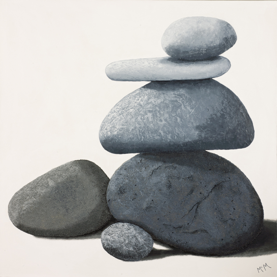 "Garry McMichael, St. Louis, MO. ""Balance (Northshore Cairn)."" 2015. Acrylic on Canvas, 24""x24"". $850."