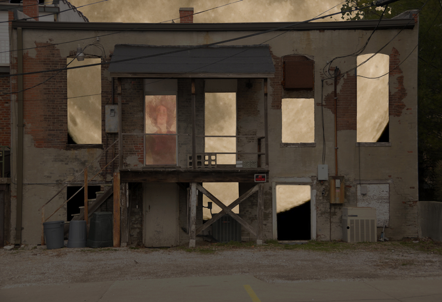 "Bob Ahrens. Moon Through Building. 2012. Digital Photograph, 20""x26"". $180."
