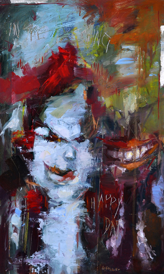 "Lon Brauer. Happy Day, Happy Thoughts. 2014. Oil on Panel, 30""x18"". $1,250."