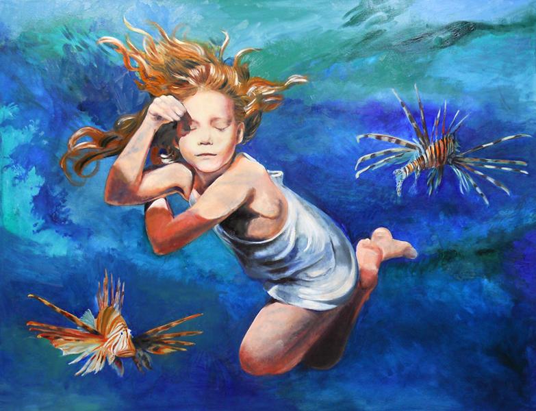 """Lani Kohoutek-Miller. Floater. 2014. Oil on Canvas, 36""""x46"""". $800."""