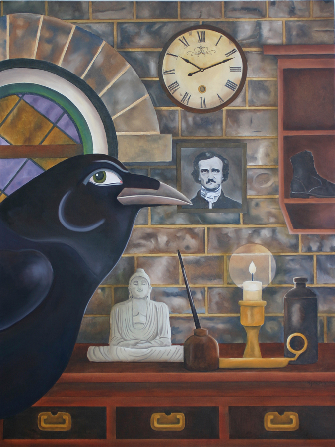 "David M. Yates. Quote the Raven. 2012. Oil on Canvas, 49.5""x37.5"". $4,000."
