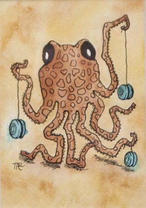 "Melissa Rohr Gindling. ""Octopus & Yo-Yos."" 2012. Watercolor, Ink on Paper. 11""x13"". $65."