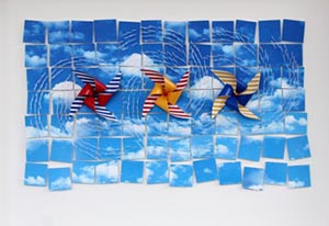 "Alex Paradowski. ""Pinwheels & Skyboxes."" 2014. Paper, Digital Output, Varnished Thread. 21.5""x17"". $600."