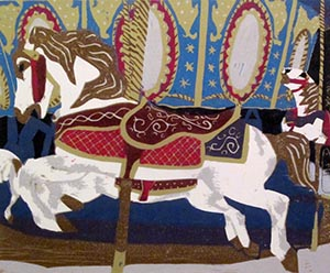 "Roxanne Phillips. ""Carousel."" 2012. Reductive Relief Print on Paper. 15""x15"". $600."