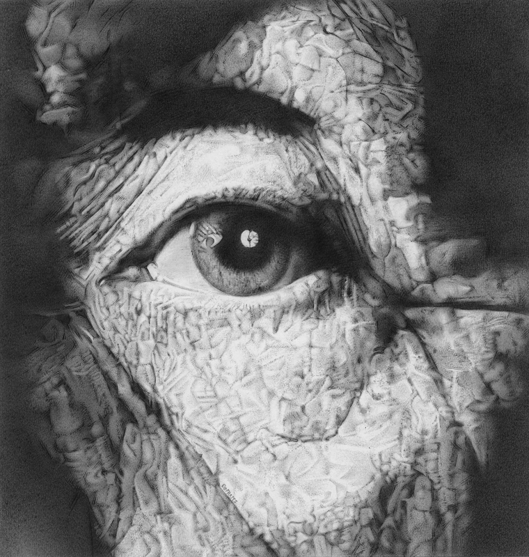"Bob DeFrates, Belleville, IL. ""Aging Eye."" 2013. Graphite on Paper, 19.25""x18"". Not for Sale."