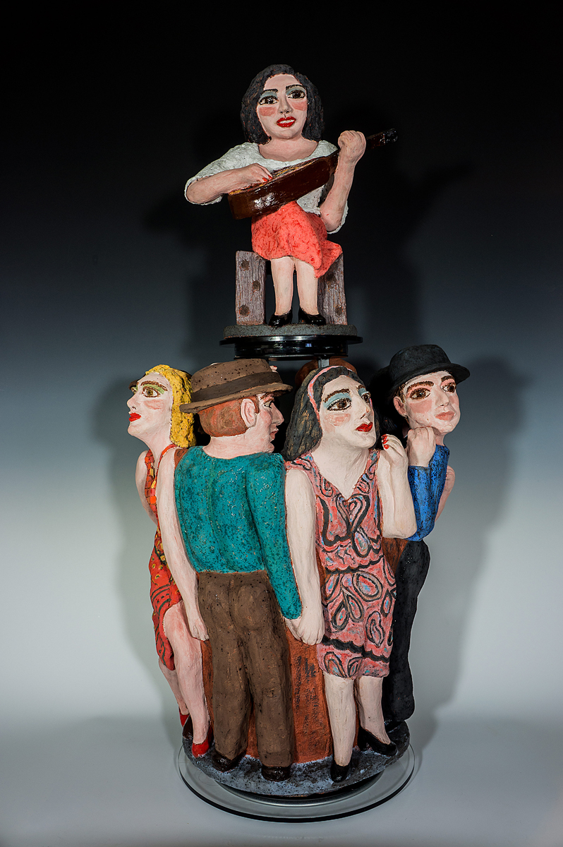 "Sandy Kaplan, Richmond Heights, MO. ""T.O.U.C.H-ing (Together Our Unity Creates Happiness)."" 2014. Terra Cotta Clay, Glaze, 35""x17""x17"". $4,500."