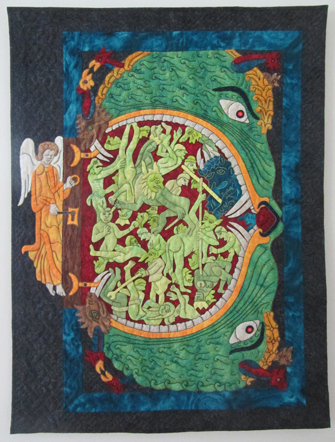 "Suzanne Marshall, St. Louis, MO. ""Hellmouth."" 2014. Fabric, Embroidery Floss, Thread, Batting, 31""x41.25"". Not for Sale."