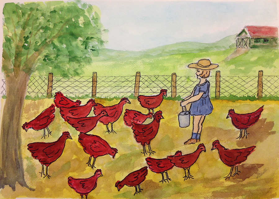 "Gilberta McCabe, Chesterfield, MO. ""Feeding the Chickens."" 2014. Watercolor, Ink on Paper, 15""x17"". $200."