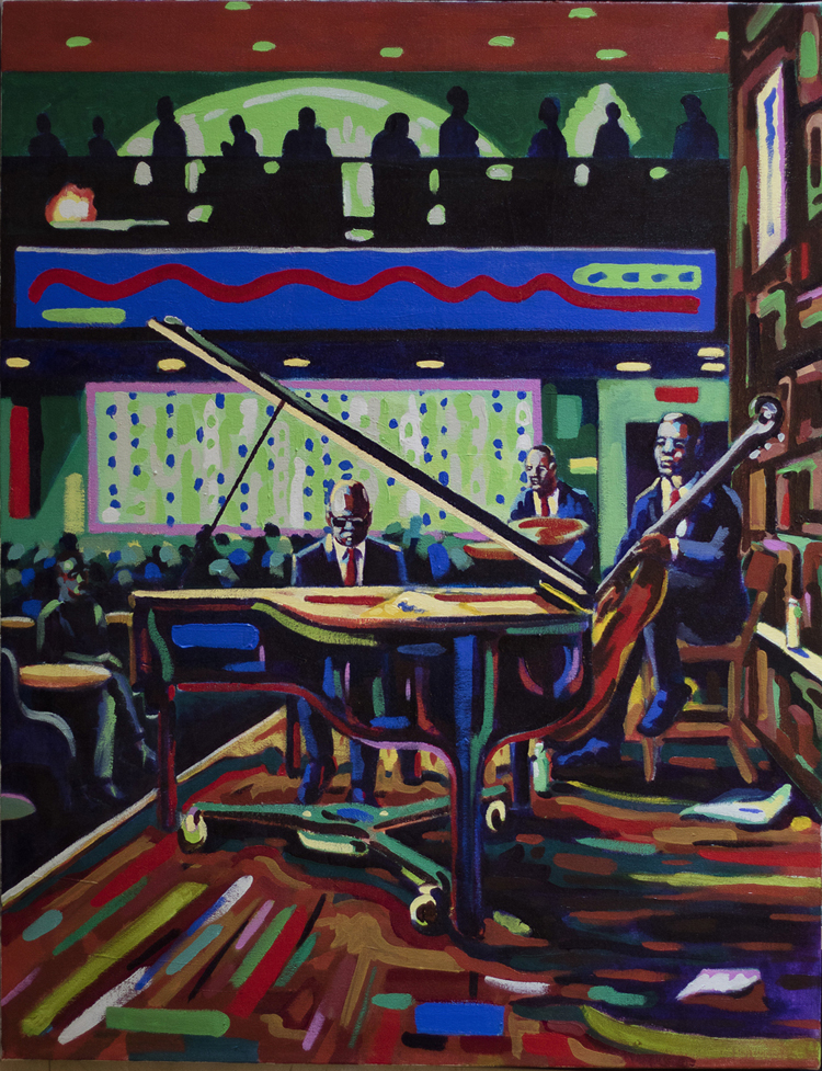 "Blake Carroll, Imperial, MO. ""Trio at the Bistro."" 2016. Acrylic on Canvas, 36""x29"". $1,500."