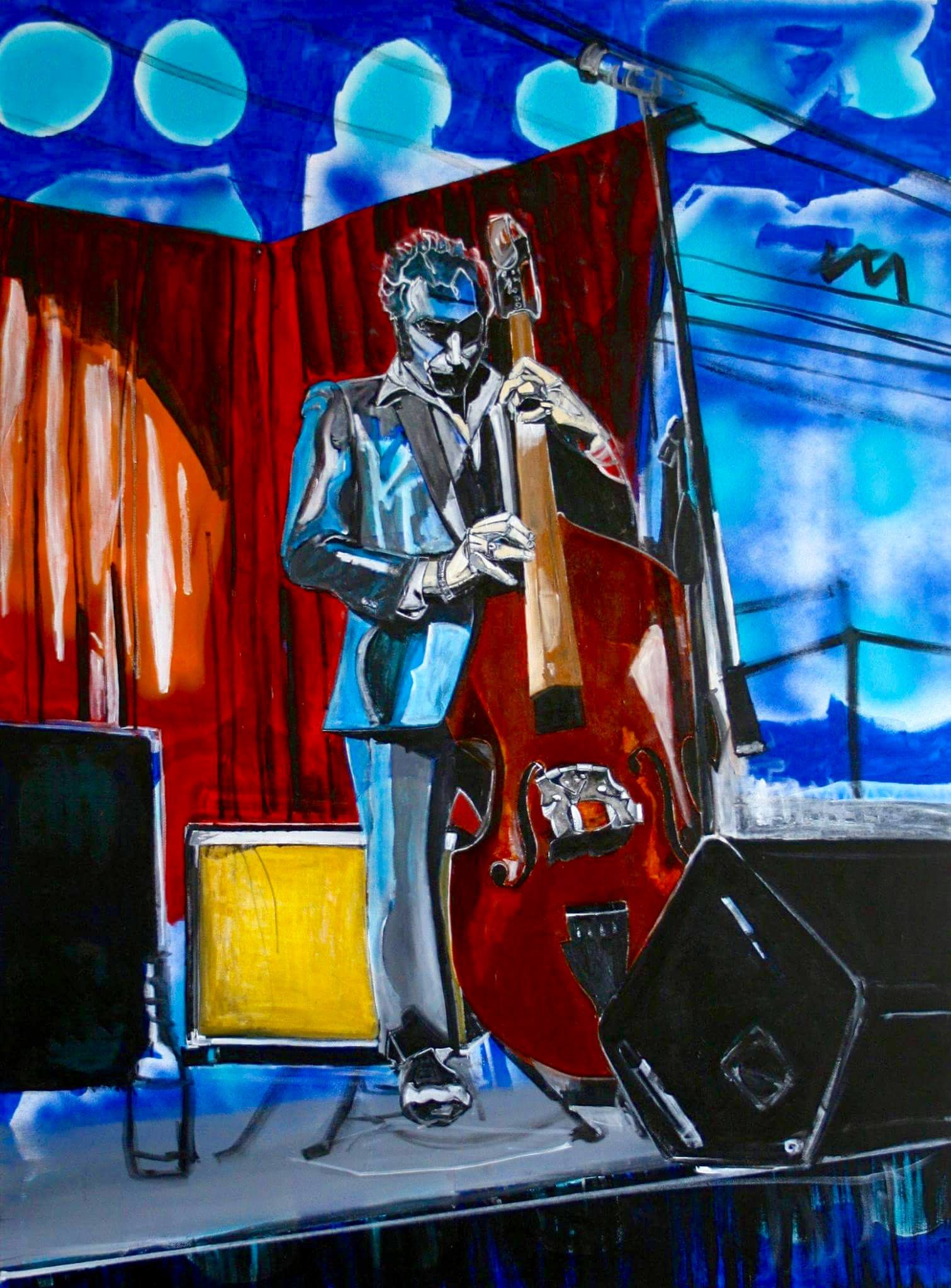 "Dana Richard Smith, St. Louis, MO. ""Adam with Anne's Bass."" 2016. Spray Paint, Acrylic on Canvas, 30""x40"". $300."