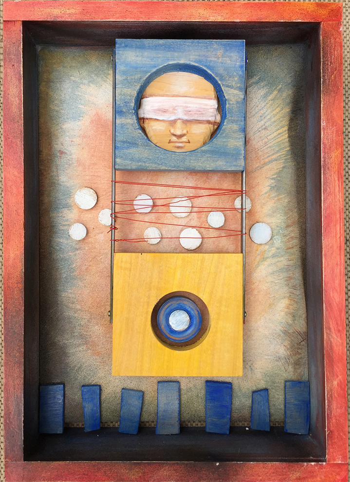 "Den Smith, Green Park, MO. ""Blind Faith."" 2015. Mixed Media, Paint, Wood, 20""x14""x3"". $350."