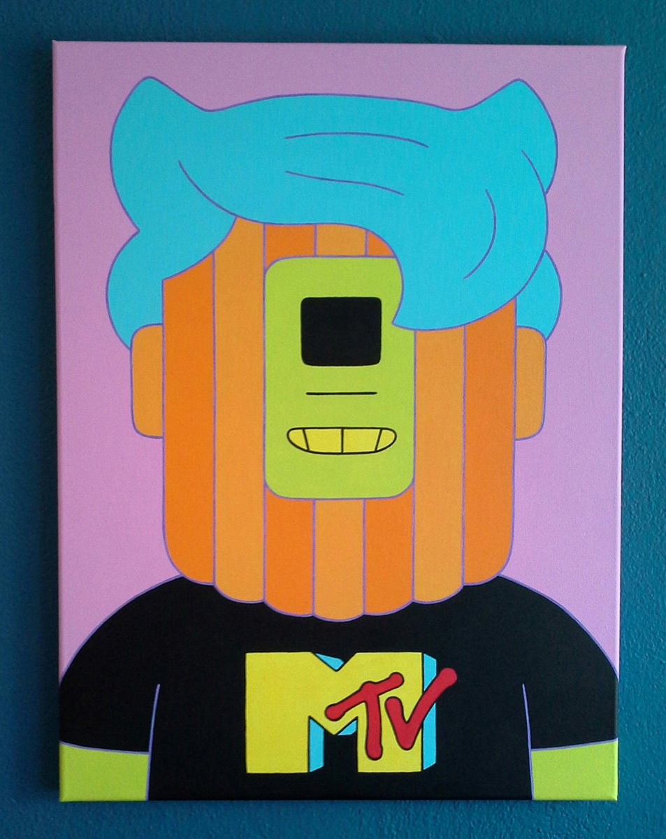 "Neil Fitzpatrick, St. Louis, MO. ""MTV."" 2016. Acrylic on Canvas, 24""x18"". $275."