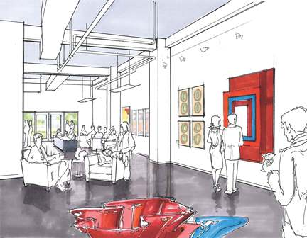 Rendering of the new Art Saint Louis gallery, facing south. Image courtesy of Lawrence Group.