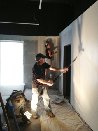 ASL volunteers going above and beyond, painting the gallery for three days in the dark with only a few work lamps and daylight shining through our front windows! Photos by Robin Hirsch.