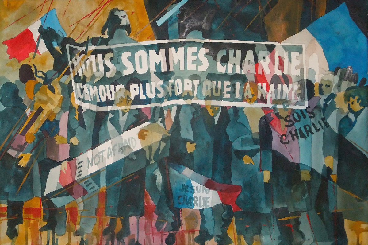 "Marilynne Bradley, Webster Groves, MO. ""Je Suis Charlie."" 2016. Watercolor on Paper, 15""x22"". $1,900."