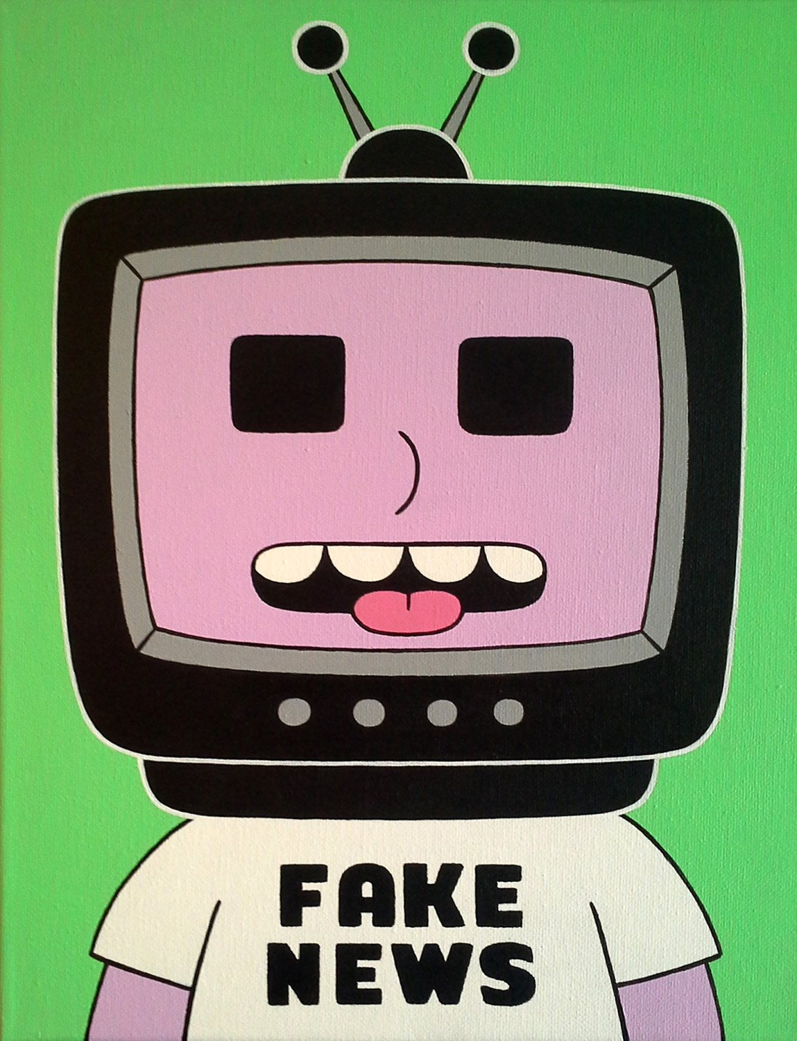 "Neil Fitzpatrick, St. Louis, MO. ""Fake News."" 2017. Acrylic on Canvas, 14""x11"". $150."