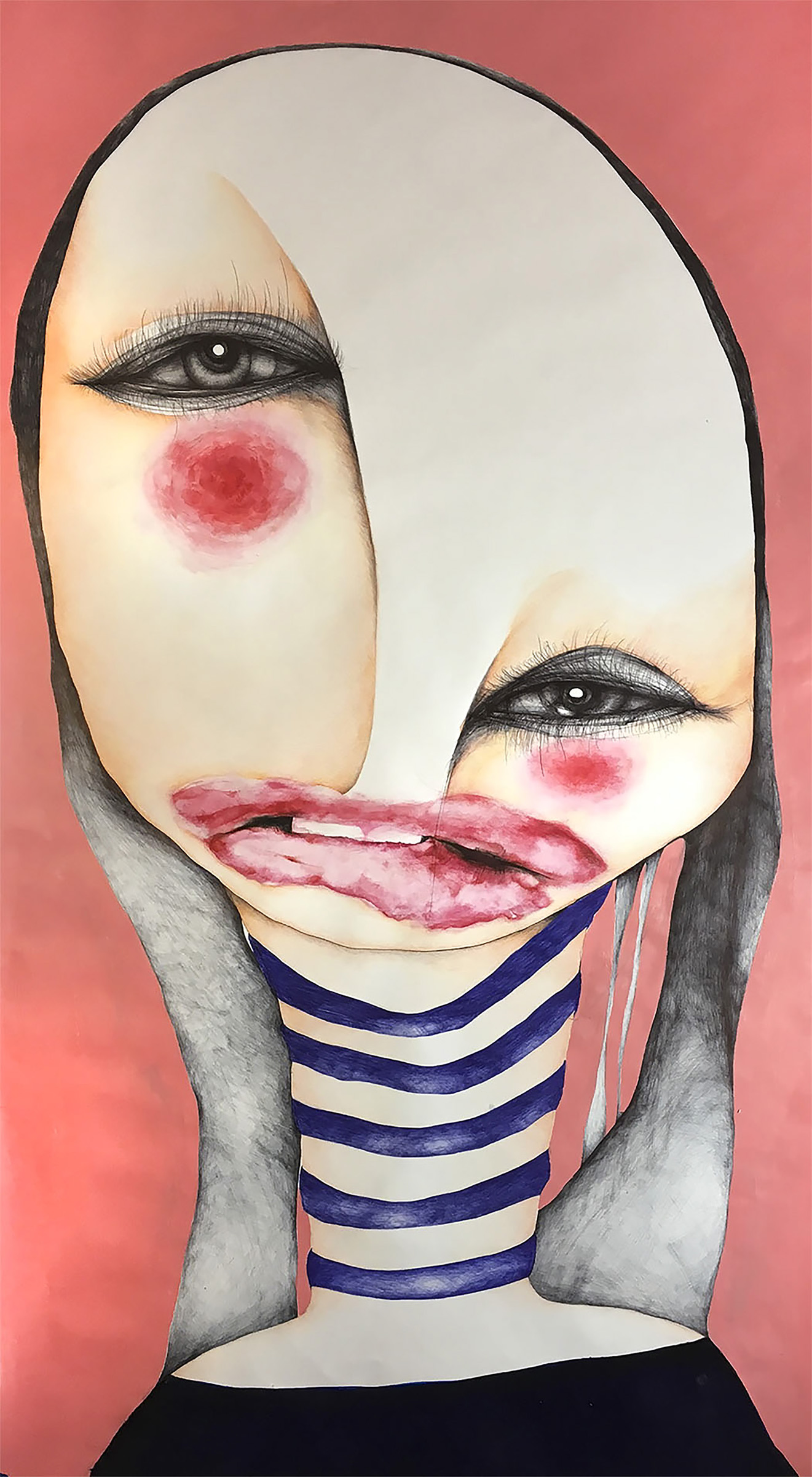 "C. Bryce Ramming, St. Louis, MO. ""Elle."" Acrylic, Colored Pencil, Ink on Paper, 36""x54"". $1,800."