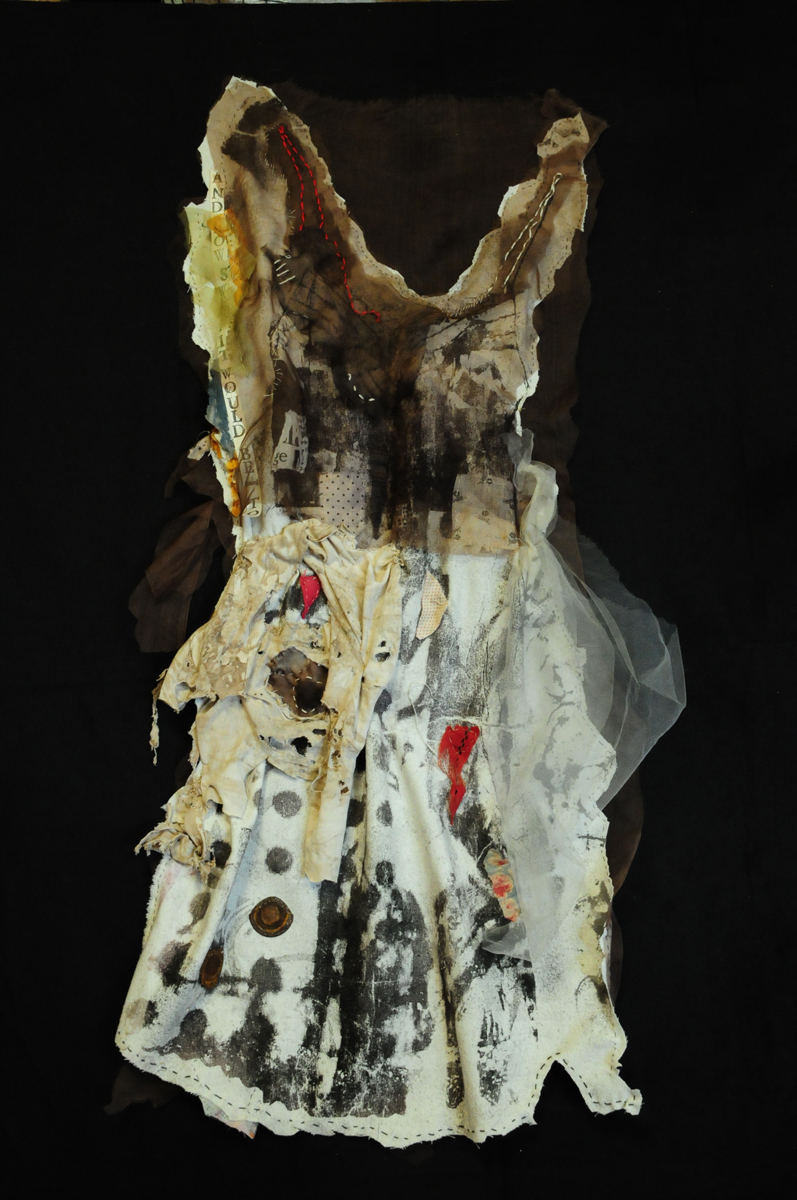 "Suzy Farren & Amy Firestone Rosen, St. Louis, MO. ""Slipping."" 2015. Print on Fabric, Found Scraps, Stitched, 36""x23"". Not for Sale. This artwork was selected for an Honorable Mention by the exhibit Jurors."