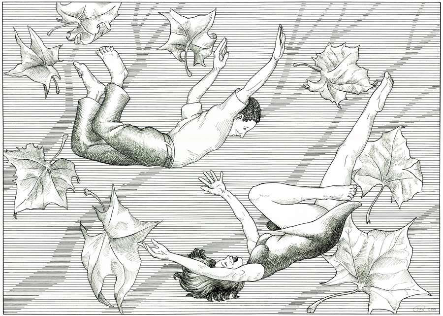 "Bill Perry, Maplewood, MO. ""Falling."" 2013. Print of Original Pen & Ink on Paper, 36""x27"". $500."