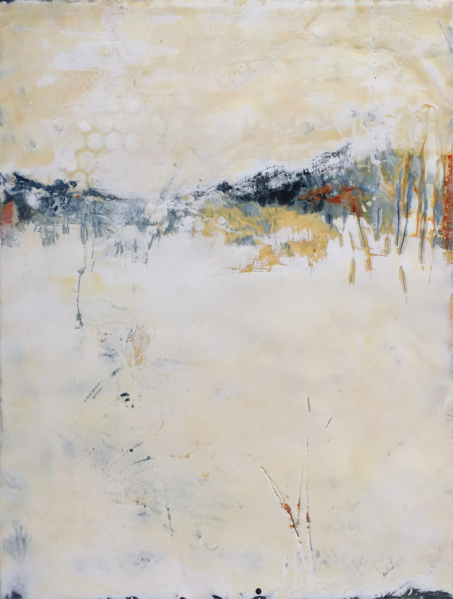 "Julie Snidle, St. Louis, MO. ""Ready for Quiet."" 2016. Encaustic on Panel, 24""x18"". $650. This artwork was selected by the exhibit Jurors for an Award of Excellence."