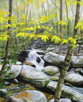 "Morris E. Fletcher. ""Appalachian Stream."" 2013. Oil on Canvas, 24""x20"". $400."