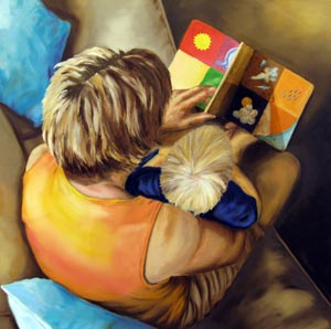 "Vicki Hefty. ""Reading."" 2012. Oil on Canvas, 30""x30"". $1,000."