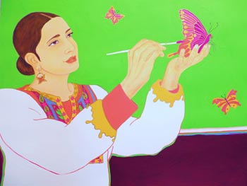 "Adrienne J. Patel. ""The Butterfly Artist."" Gouache, Watercolor, Acrylic on Paper. 30""x40"". $900."