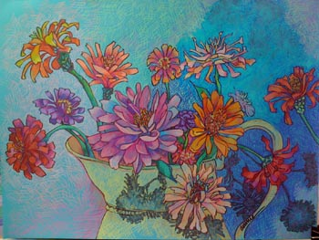 "Annie Scheumbauer. ""Zinnias in a Yellow Pitcher."" 2013. Prismacolor Pencil on Caslon Paper, 26""x32"". $1,100."